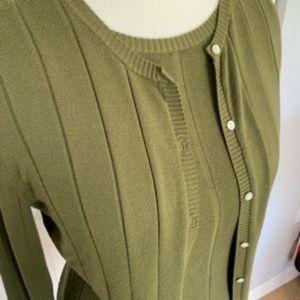 Merona women's sweater set, olive green, medium